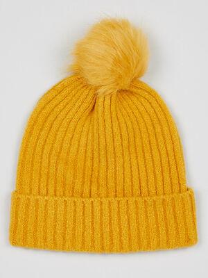 Bonnet uni avec pompon jaune moutarde mixte