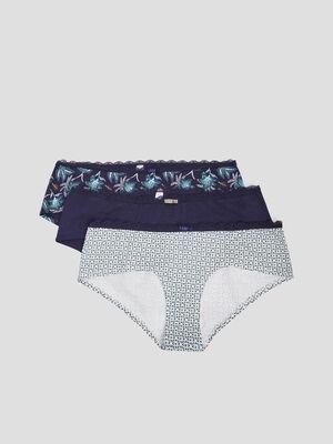 Lot de 3 boxers bleu marine femme