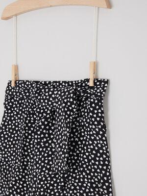 Jupe culotte imprimee et ceinturee noir fille
