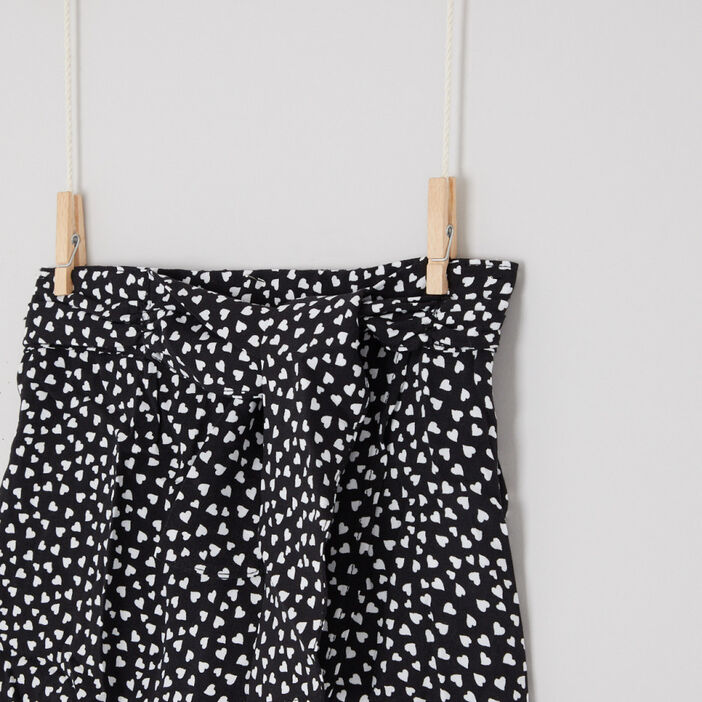 Jupe-culotte imprimée et ceinturée fille noir