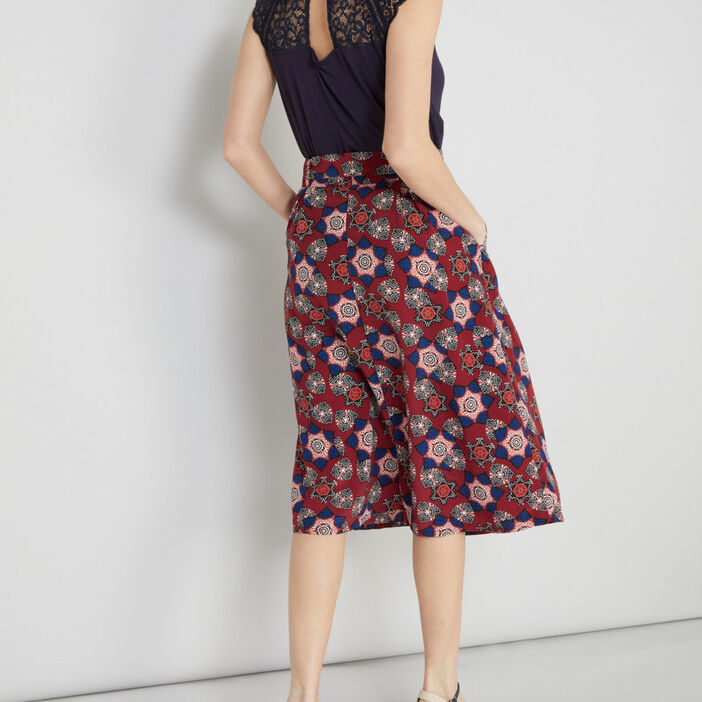 Jupe-culotte imprimée ceinturée femme rose framboise