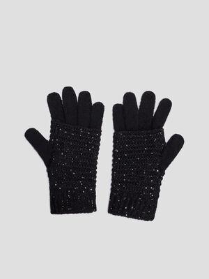 Gants tricotes avec sequins noir femme