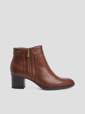 Bottines zippees a talons marron femme