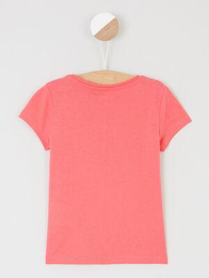 T shirt uni a manches courtes rose framboise fille