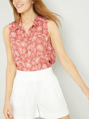 Chemise sans manches motifs geometriques rose framboise femme