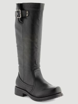 Bottes cavalieres unies avec zip noir femme