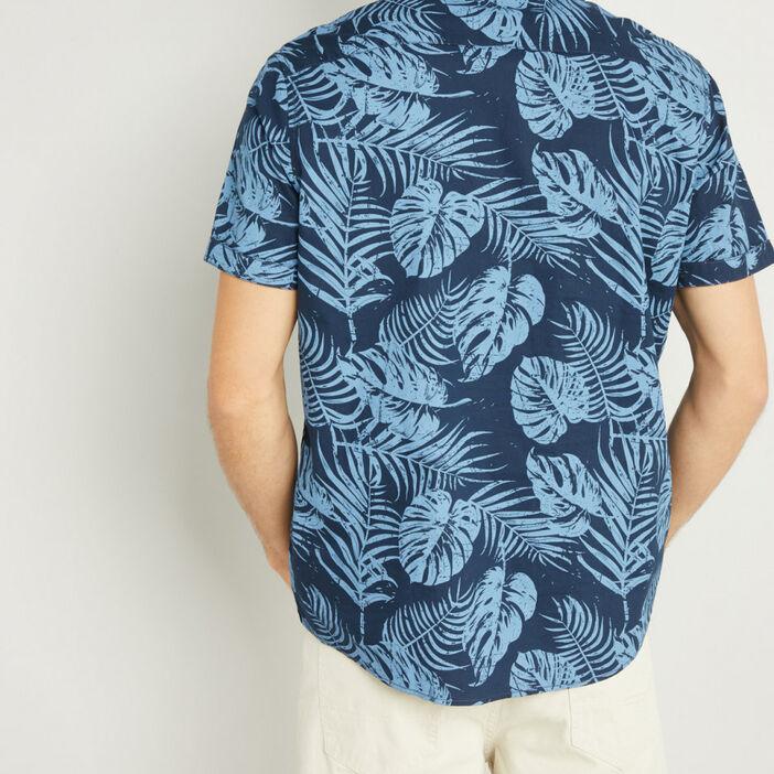 Chemise manches courtes homme bleu