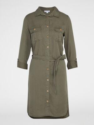 Robe chemise manches a retrousser vert kaki femme