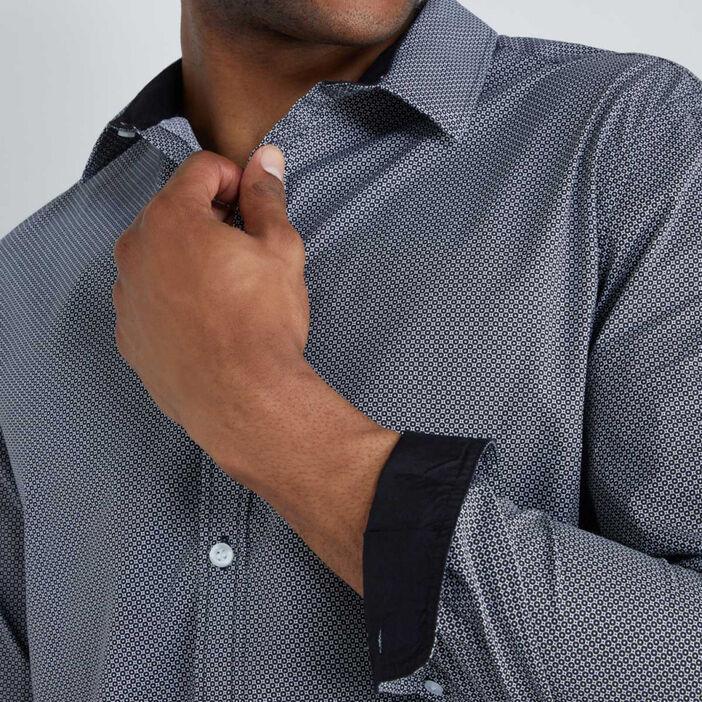 Chemise imprimée coupe slim homme noir