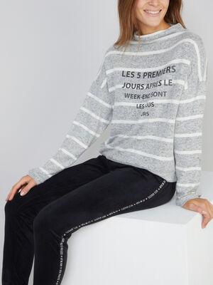 Sweat de pyjama raye coordonnable gris femme