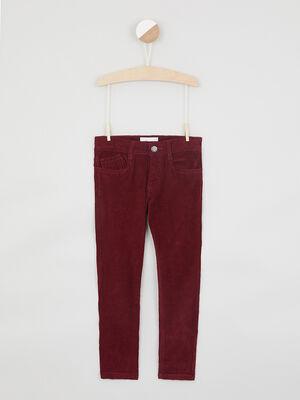 Pantalon slim en velours bordeaux garcon