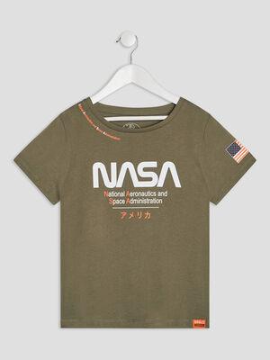 T shirt manches courtes NASA vert kaki fille