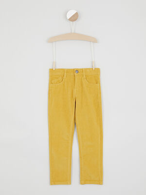 Pantalon slim velours cotele jaune garcon
