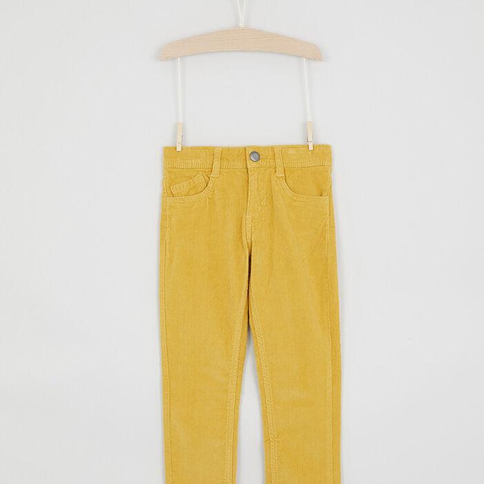 Pantalon slim velours côtelé garçon jaune