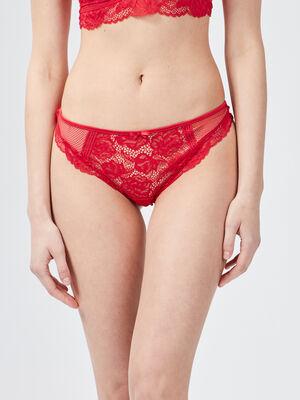 Culotte tanga en dentelle rouge femme