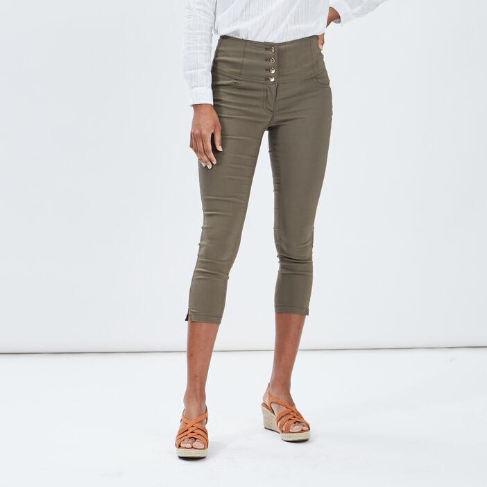 Pantacourt skinny taille haute femme vert kaki