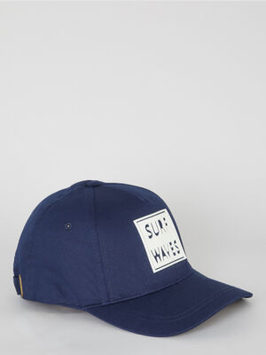Casquette en coton avec inscription bleu marine garcon