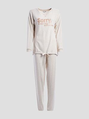 Ensemble pyjama 2 pieces beige femme