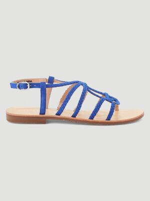 Sandales plates lanieres tressees cuir bleu femme