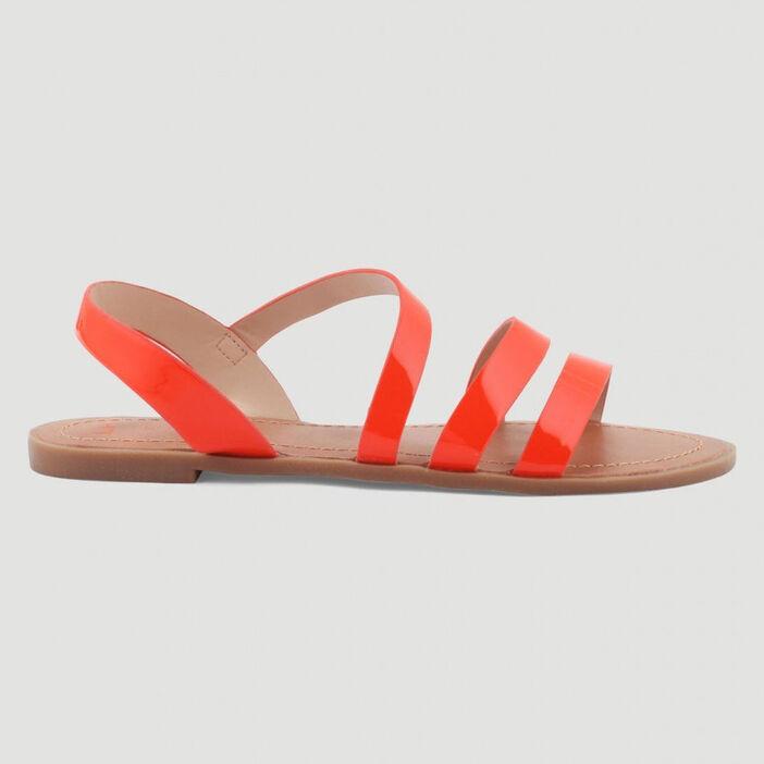 Sandales plates femme orange