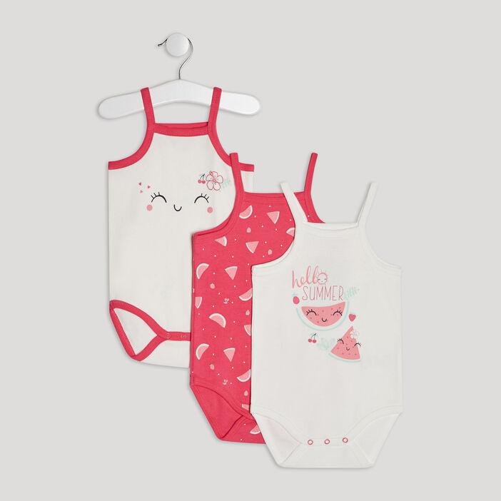 Lot 3 body bébé fille rose
