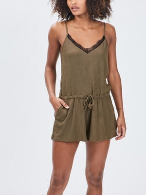 Combishort taille a coulisse vert kaki femme