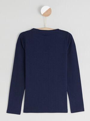T shirt uni en coton bleu marine fille