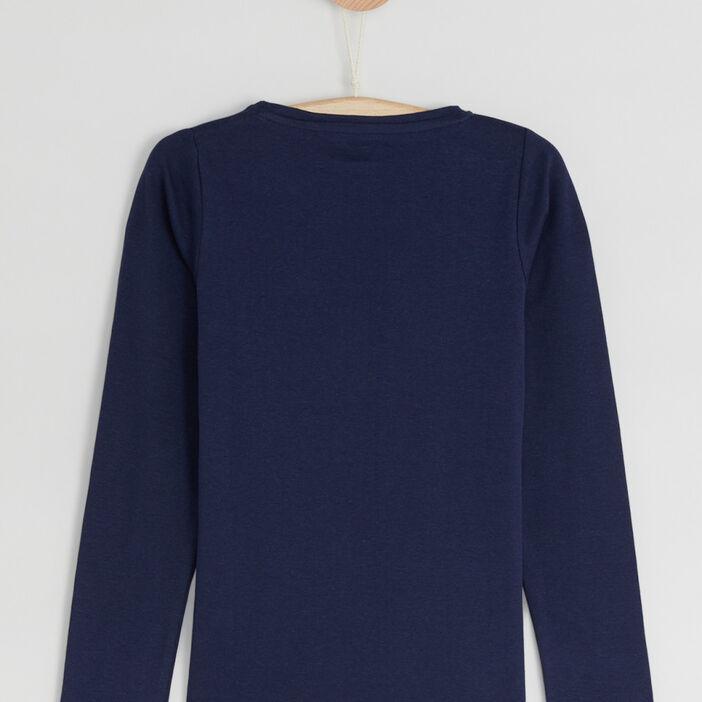 T-shirt uni en coton fille bleu marine