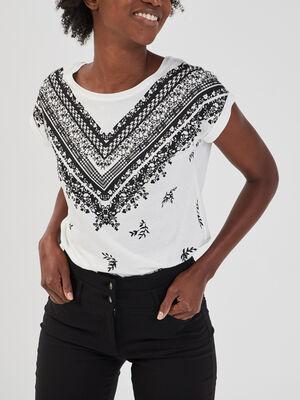 T shirt imprime manches courtes ecru femme