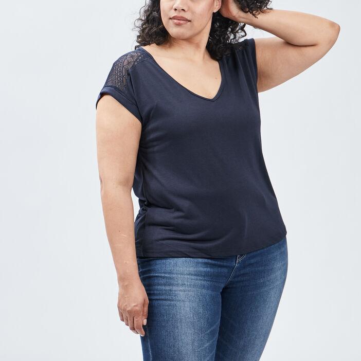 T-shirt manches courtes femme grande taille bleu marine