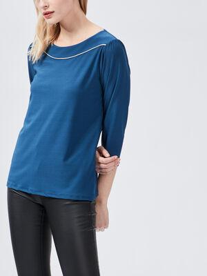 T shirt manches 34 bleu canard femme