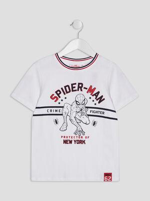 T shirt Spider Man blanc garcon