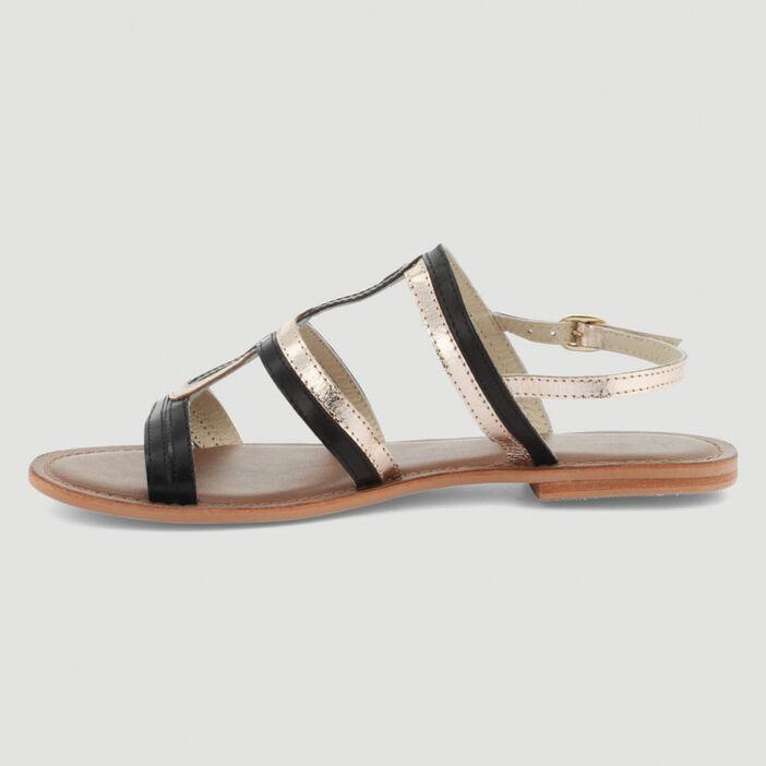 Sandales brides tressées cuir femme noir
