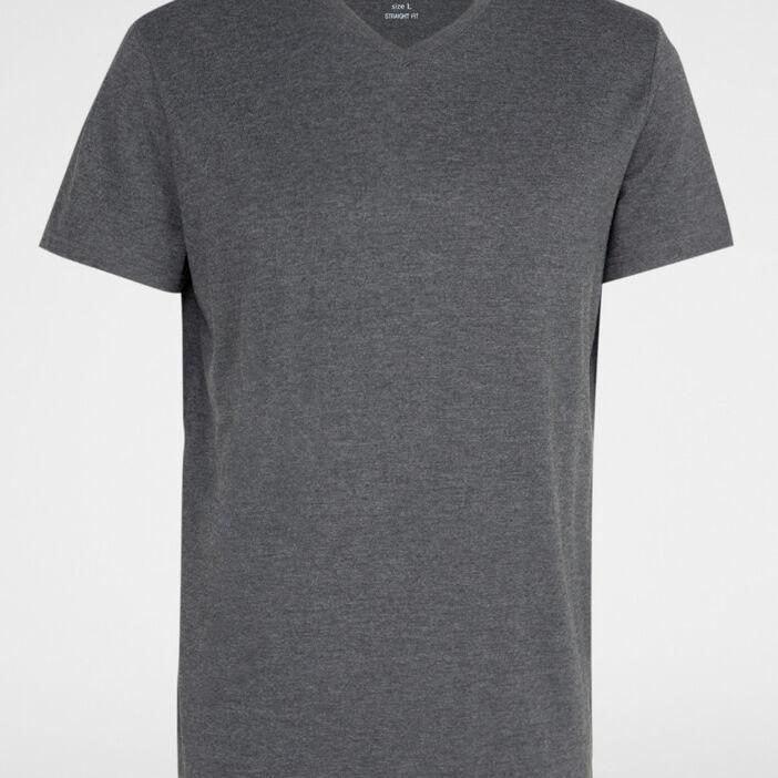 T-shirt col V en coton homme gris foncé