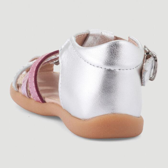Sandales irisées multicolores en cuir bébé fille couleur argent