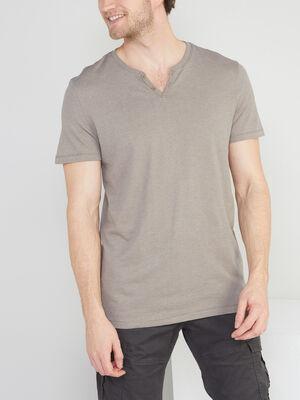 T shirt col tunisien uni gris homme