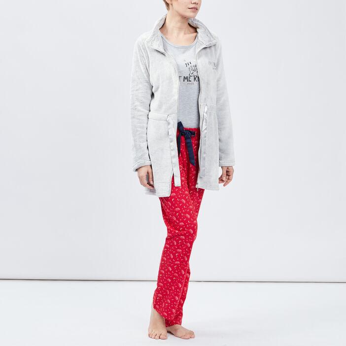 Veste de pyjama avec noeud femme taupe