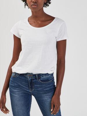 T shirt en coton uni blanc femme