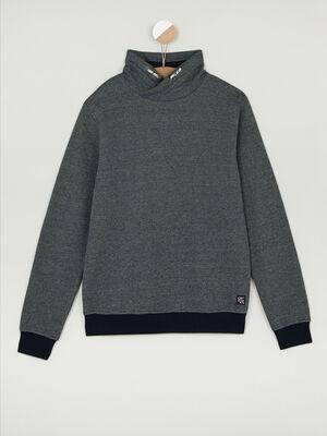 Sweatshirt a capuche coton majoritaire bleu marine garcon