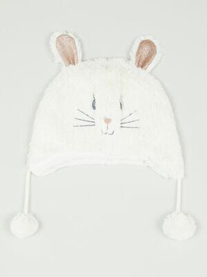 Bonnet lapin 3D ecru mixte
