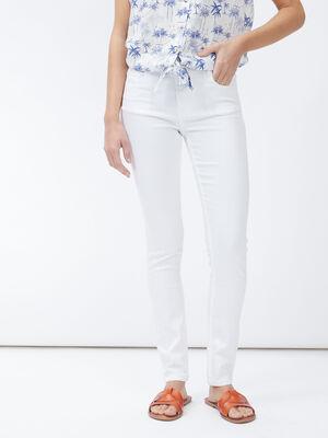 Pantalon skinny taille basse blanc femme