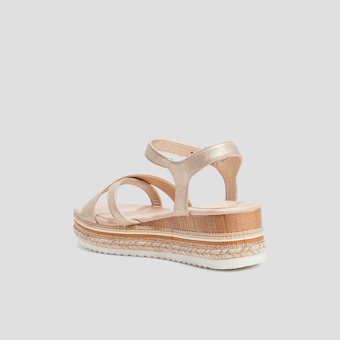 Sandales compensées femme couleur or