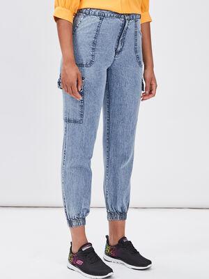 Jeans battle taille haute bleu femme