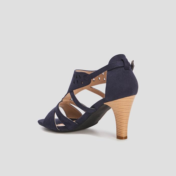Sandales suédées cheville ajourée femme bleu