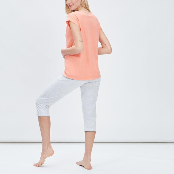 Ensemble pyjama 2 pièces femme orange corail