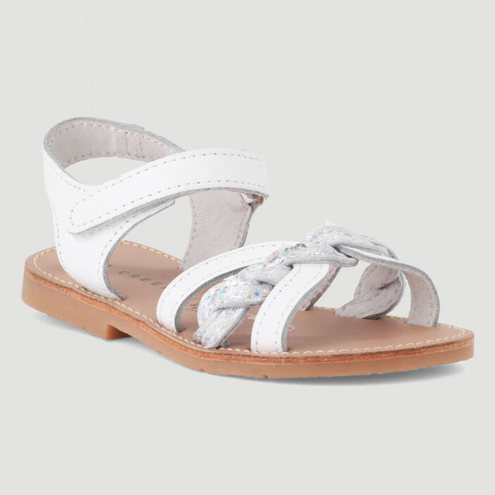 Sandales cuir fille blanc