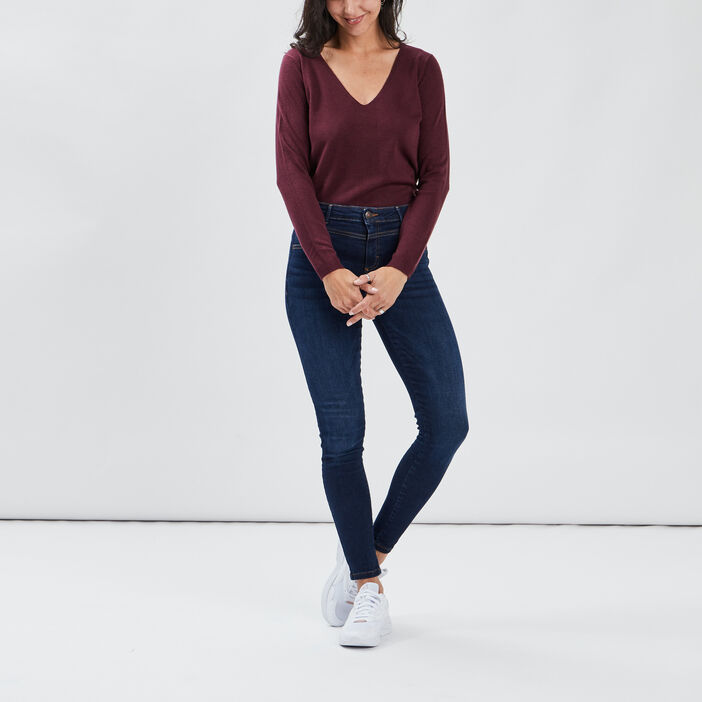 Pull manches longues femme prune