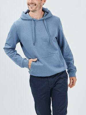 Sweat a capuche bleu gris homme