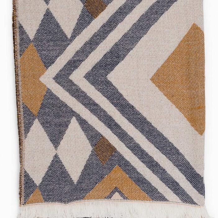 Écharpe motifs multicolores à franges mixte multicolore