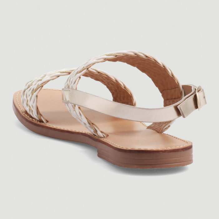 Sandales plates à brides tressées femme blanc